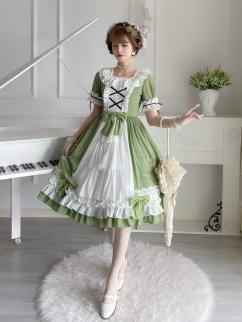Bell Orchid Square Neckline Short Sleeves Elegant Lolita Dress OP by Sweet Island