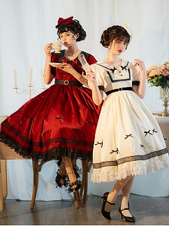 Beautiful Lady is Waiting Peter Pan Collar Short Puff Sleeves Elegant Lolita Dress OP by Sweet Island