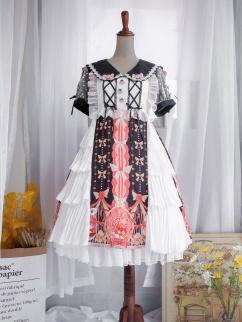 Squirrel Chant Black / Red Peter Pan Collar Short Sleeves Sweet Lolita Dress OP by Sweet Island