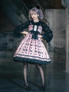Pink Butterfly Shock World Square Neckline Lolita Dress JSK by Sweet Island