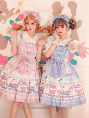 Candy Ice Cream Square Neckline Sweet Lolita Dress JSK / Apron Set by Sweet Island
