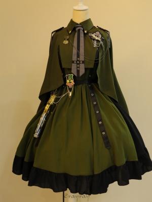 Against the Glory Sweetheart Neckline Military Lolita Dress JSK Full Set