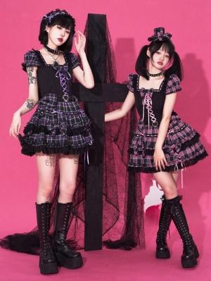 The Trial of The Devil Bear Square Neckline Plaid Skirt Punk Lolita Dress OP