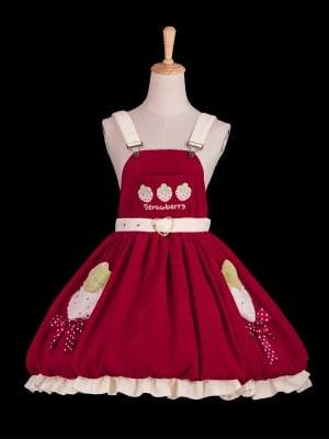 Strawberry Seed Sweet Lolita Overall Dress / Hat Set