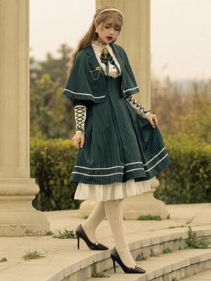 Heroic Girl High Neck Long Sleeves Striped Classic Lolita Dress OP