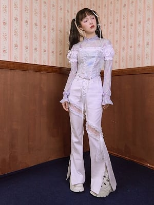 High Waist White Hollow Out Lace Slit Flared Pants by SOS SEAMSTRESS