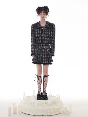 Black and White Plaid Turndown Collar Long Sleeves Metal Buckle Decorative Woolen Jacket
