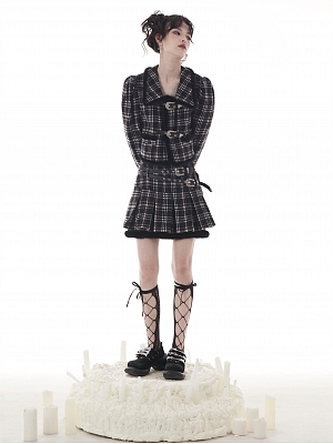 Black and White Plaid Metal Buckle Decorative Woolen Skirt