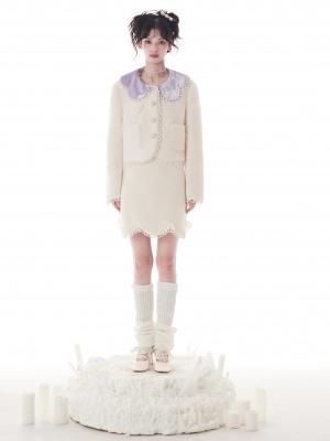 Vintage Creamy White Petal Collar Long Sleeves Lambswool Jacket / Skirt