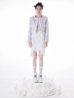 Little Fragrance Round Neckline Cross Lace Trimmed Long Sleeves Short Jacket