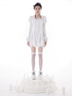 White Ruffled Square Neckline Puff Sleeves Self-tie Dress