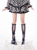 White / Black Lace Hollow Bowknot Decorative Lolita Stockings