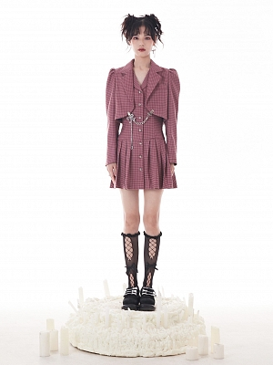 Rose Red Houndstooth Fake Two-pieces Lapel Collar Long Sleeves Pleated Dress