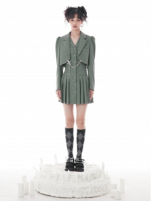 Green Houndstooth Fake Two-pieces Lapel Collar Long Sleeves Pleated Dress