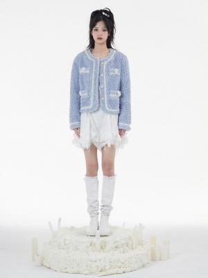 Round Neckline Long Sleeves Pearl Trimmed Lambswool Jacket