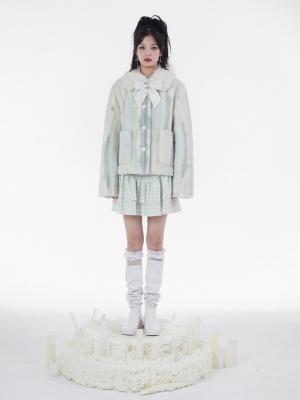 Light Green Plush Turndown Collar Long Sleeves Lambswool Padded Jacket