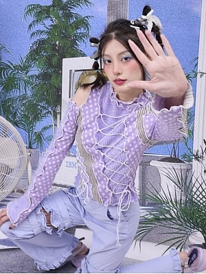 Asymmetrical Design Criss Cross Strings Decorated Sweater