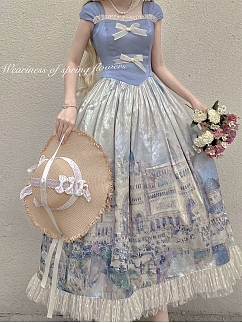 Spring Benji Square Neckline Short Sleeves Classic Lolita Dress OP by Spring Weariness