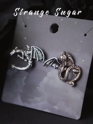 Handmade Halloween Dark Gothic Punk Evil Dragon Asymmetrical Stud Earrings by Strange Sugar