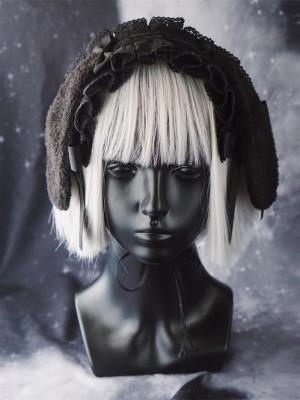Handmade Lop-eared Bunny Ruffled Lace KC / Hairband by Strange Sugar