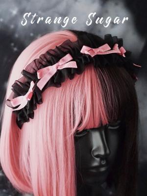 Handmade Y2K Black and Pink Bowknot Decorative KC by Stranger Sugar