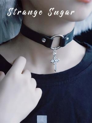 Handmade Gothic Cross Pendant Choker by Stranger Sugar