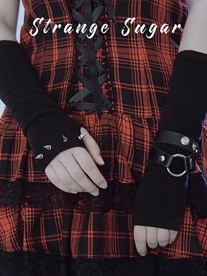 Handmade Gothic Black Rivet Decorative Long Gloves by Stranger Sugar