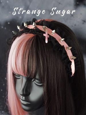 Handmade Black and Pink Rivet Decoration KC by Stranger Sugar