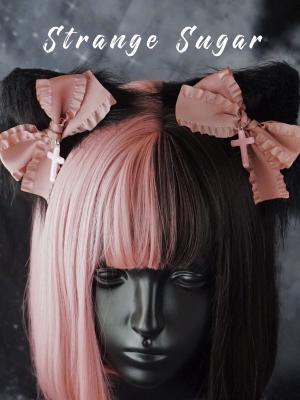Handmade Black and Pink Bowknot Cat Ears Hairclips by Stranger Sugar