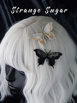 Handmade Gothic Embroidered Butterfly Hairclip