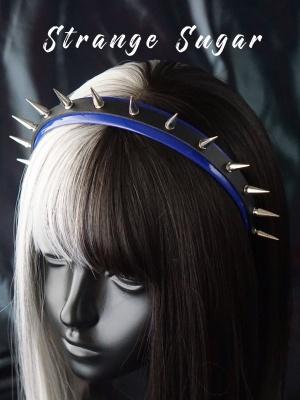 Handmade Punk Black and Blue Rivet Decorative KC