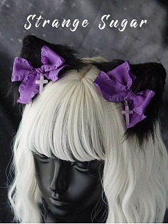 Handmade Gothic Black and Purple Cat Ears Hairclips