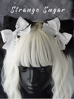 Handmade Gothic Black and White Cat Ears Hairclips
