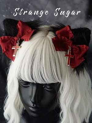 Handmade Gothic Black and Red Cat Ears Hairclips