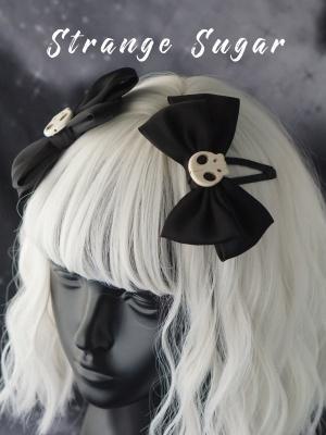 Handmade Black Gothic Skull Bowknot Hairclips