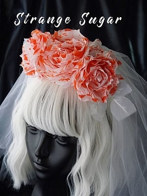 Handmade Halloween Gothic Zombie Bride Bloody White Rose KC with Veil