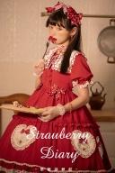 Strawberry Diary Short Puff Sleeves Sweet Lolita Dress OP Set