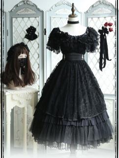 Black Swan Square Neckline Short Sleeves Vintage Elegant Lolita Dress OP Full Set