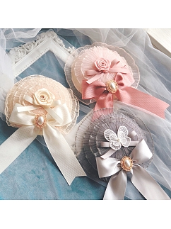 Rose Knot Lolita vintage Cla Layered Yarn Lace Handmade Small Top Hat