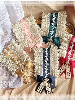 Lonza Gems vintage Golden Embroidery  Hanayome Tea Party Hair Band