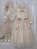 Icing Sugar Lullaby Off-the-shoulder Neckline Long Sleeves Elegant Lolita Dress OP