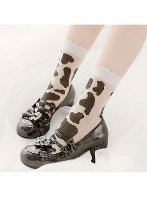 Cow Egg Roll Lolita Socks  by Stellar Winds of the Universe