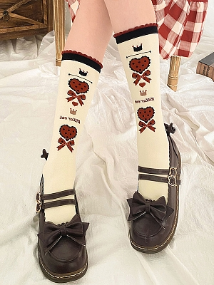 Earl Kitty Series Bowknot Heart Lolita Stockings by Stellar Winds of the Universe