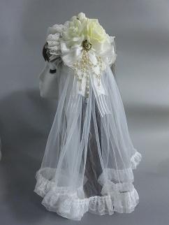 Handmade Lolita Hanayome Rose Bead Chian Hanamaru KC with Veil by Sweet Jelly Lolita