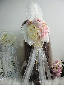 Handmade Sweet Lolita Feather Hanayome Tea Patry Rose Bead Chain Hanamaru by Sweet Jelly Lolita