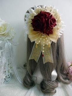 Handmade Lolita Gorgeous Gold Stamping Rose Bead Chain Hanamaru by Sweet Jelly Lolita