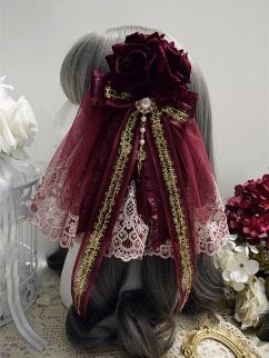 Handmade Elegant Lolita Gorgeous Wine Red Bowknot Hanamaru by Sweet Jelly Lolita