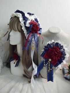 Handmade Lolita Gorgeous Snow White Bowknot Hairband / Hanamaru / Choker by Sweet Jelly Lolita