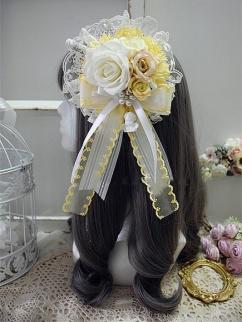 Handmade Sweet Lolita Cute Rose Bowknot Hanamaru by Sweet Jelly Lolita