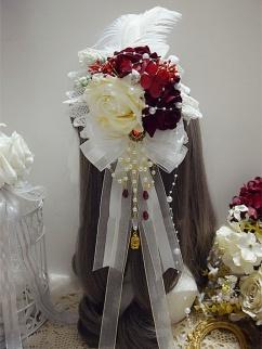 Handmade Sweet Lolita Hanayome Feather Rose Bead Chian Hanamaru by Sweet Jelly Lolita